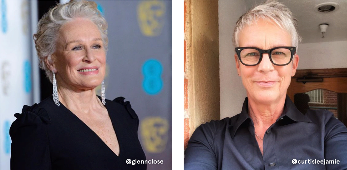 Glenn Close and Jamie Lee Curtis have gorgeous, light and bright gray hair colors, shown here in pixie cuts.