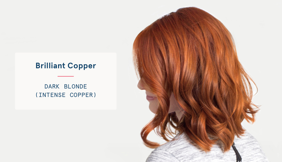 Dark blonde intense copper hair color